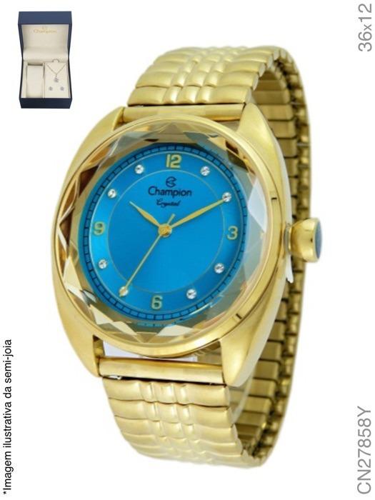 5f80fef587e Relógio Feminino Champion Analógico Fashion Cn27858y + Colar - R ...