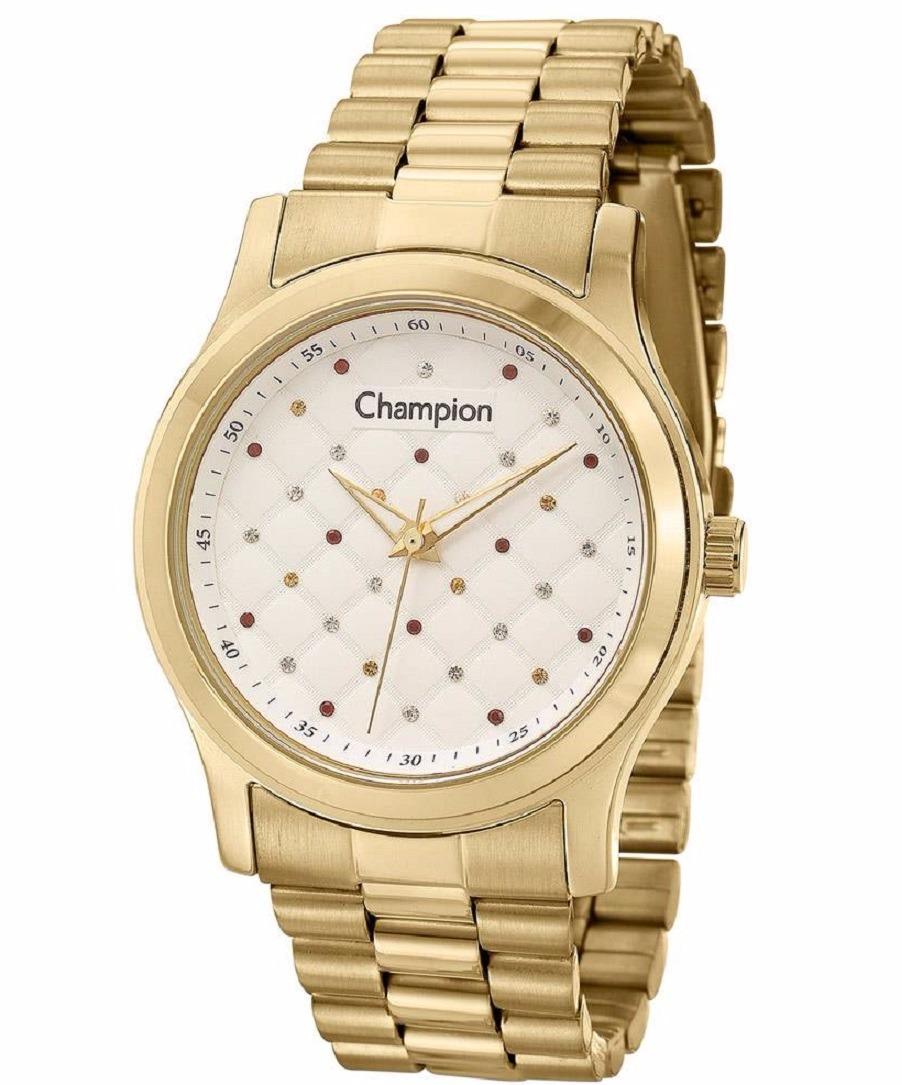 e0d7853287a Relógio Feminino Champion Banhado Ouro Fundo Strass Colors - R  230 ...