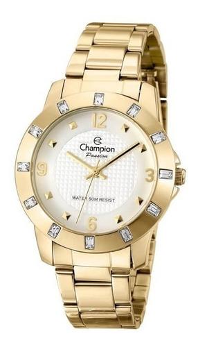 relógio feminino champion brinco e colar banhado ouro 18k