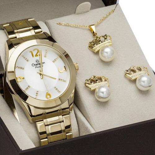 relógio feminino champion cn28713h dourado original  brinde