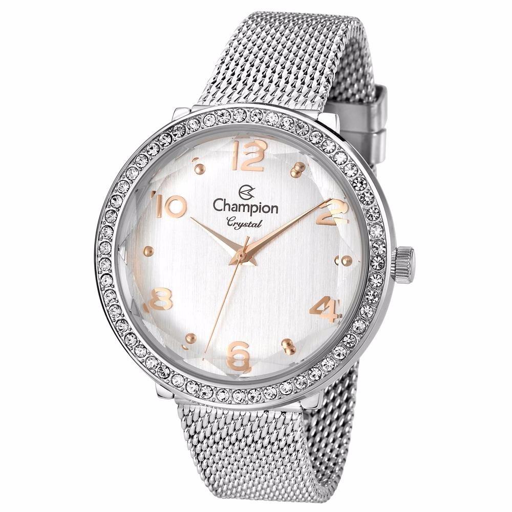 c7e275db838 relógio feminino champion crystal cn27376q analógico prata. Carregando zoom.