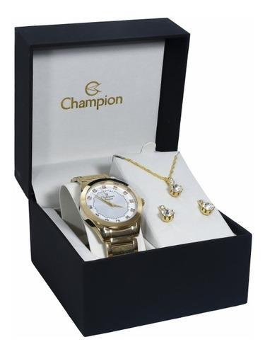 relógio feminino champion dourado ch24759w com semi jóias