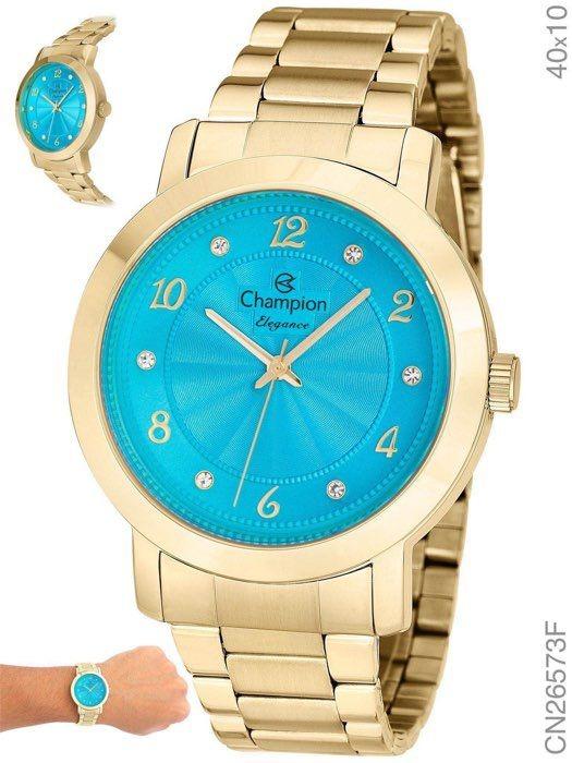 ae67ef61c88 Relógio Feminino Champion Dourado Cn26573f Promoção - R  169