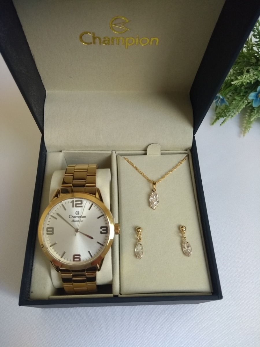 cedcc398087 relógio feminino champion dourado cn29892z original. Carregando zoom.