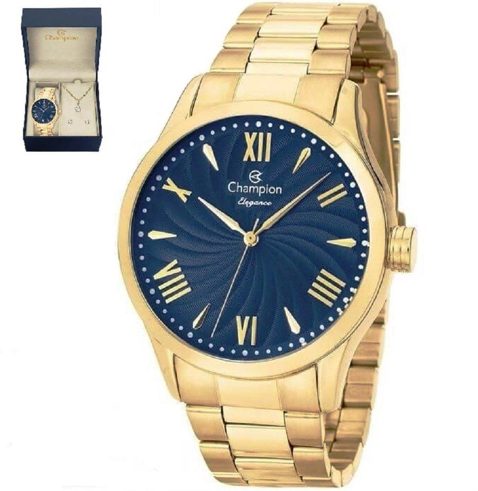 61117832264 relógio feminino champion dourado conjunto colar e brinco. Carregando zoom.