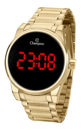 relógio feminino champion dourado digital led ch40124h