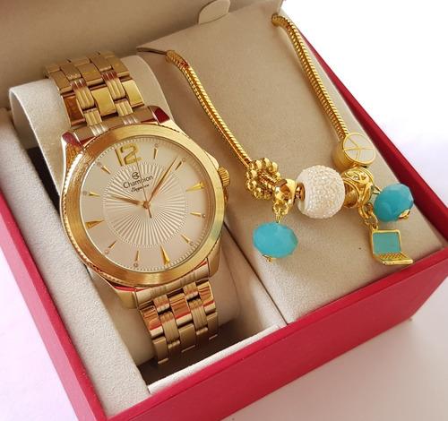 relógio feminino champion dourado original luxo + pulseira