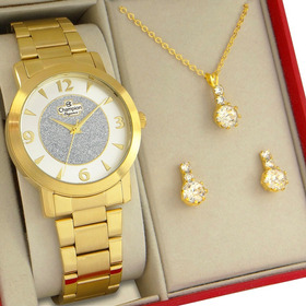 Relógio Feminino Champion Dourado Ouro Com Pulseira Berloque Brinde Prova D'água Com 1 Ano De Garantia E Nota