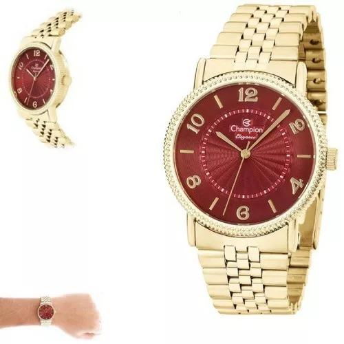e03ff9603d3 Relógio Feminino Champion Dourado Vermelho Cn25190i - R  182