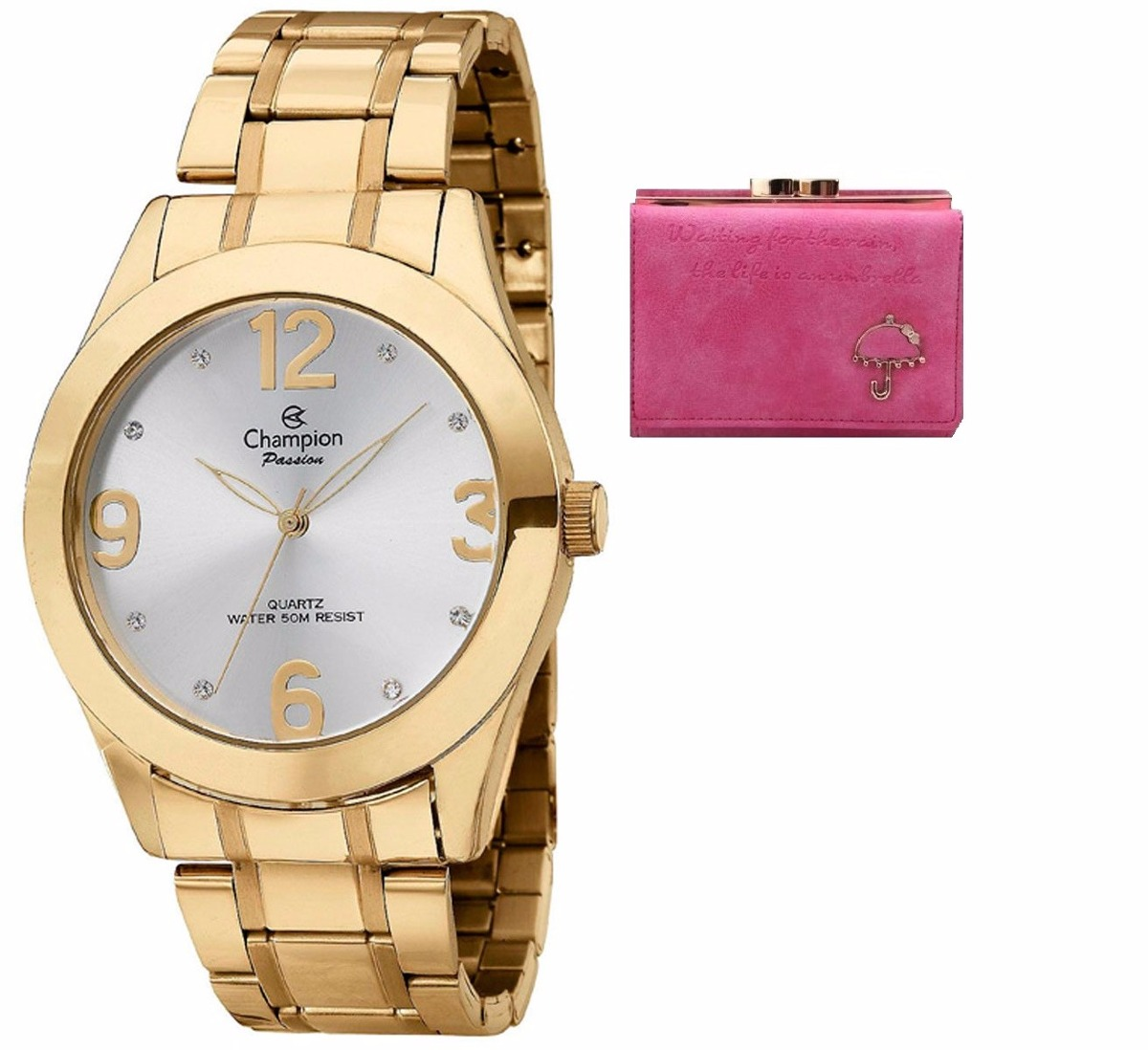 4a6f837a0ee relógio feminino champion passion ouro + carteira feminina. Carregando zoom.