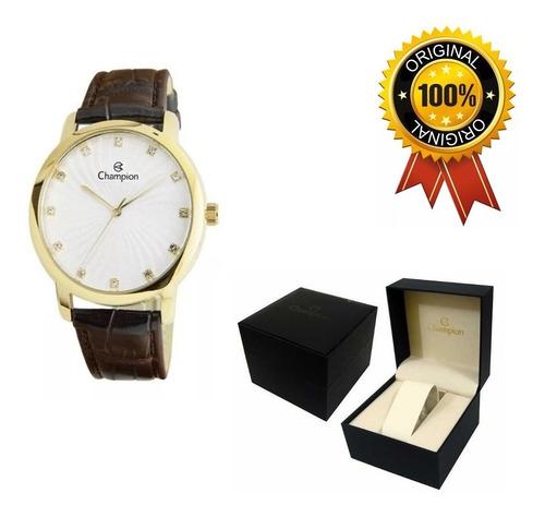 relógio feminino champion pulseira couro - ref. cn24235b