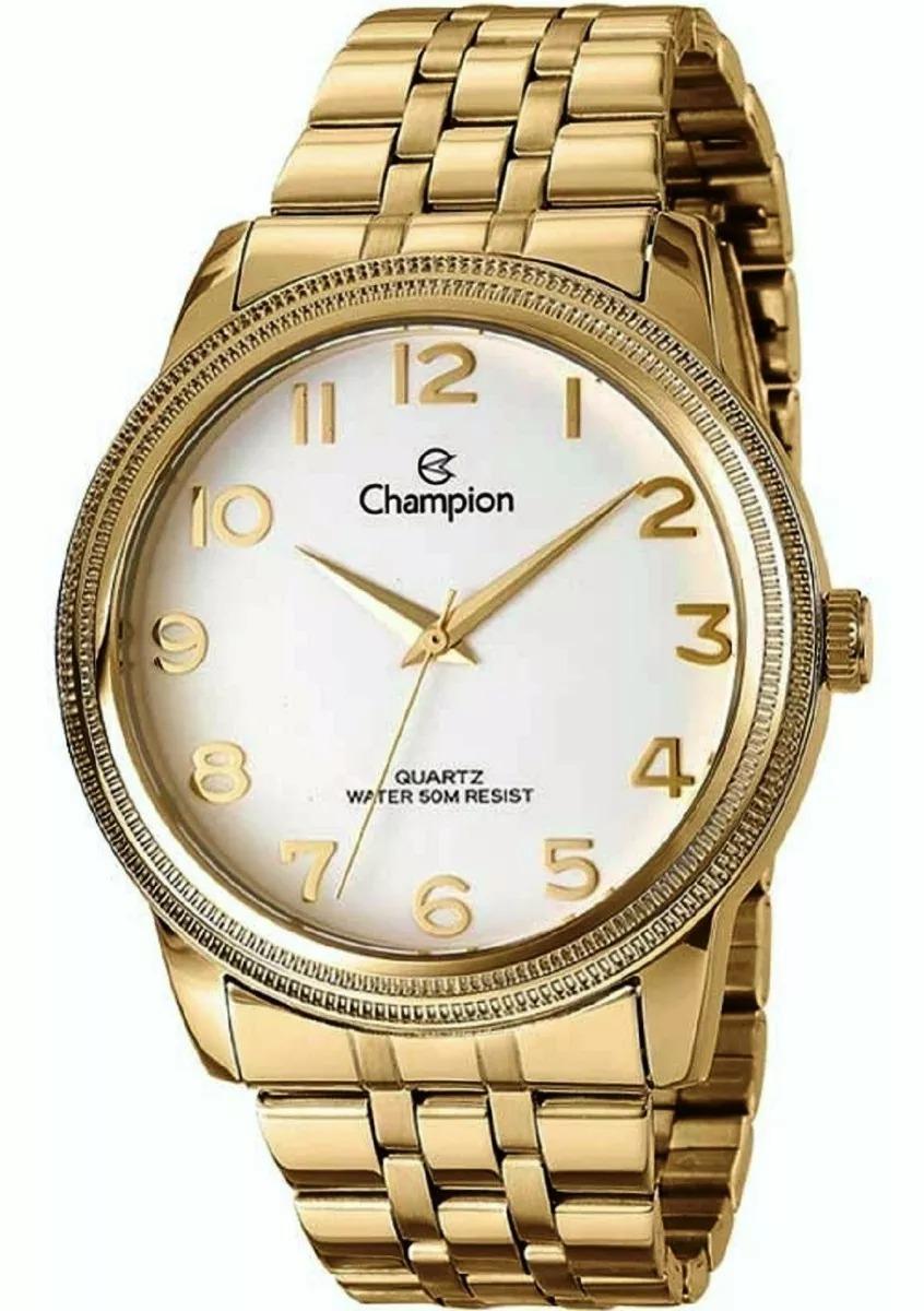 bdcc360887c relógio feminino champion quartz banhado a ouro visor grande. Carregando  zoom.