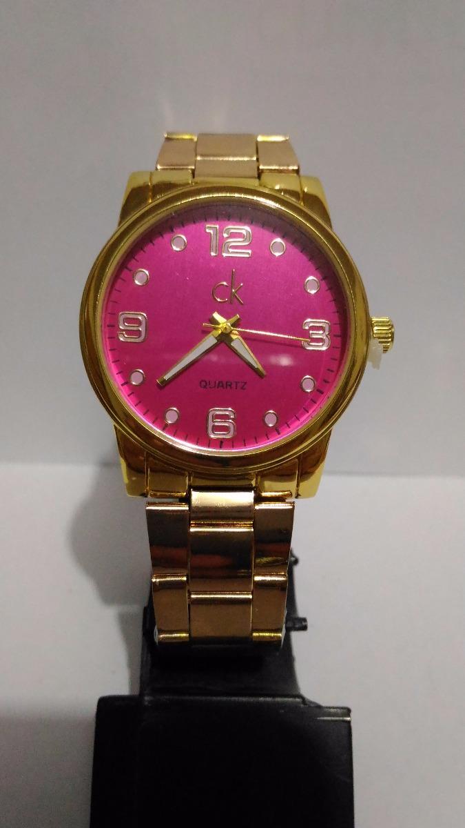 520fed8f41f relógio feminino ck calvin klein dourado mostrador rosa. Carregando zoom.