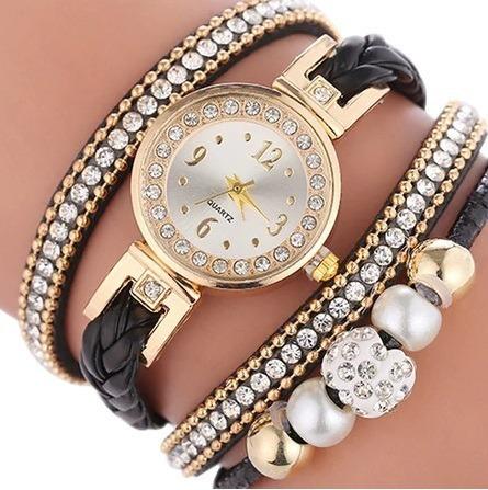 relógio feminino com pulseira em couro