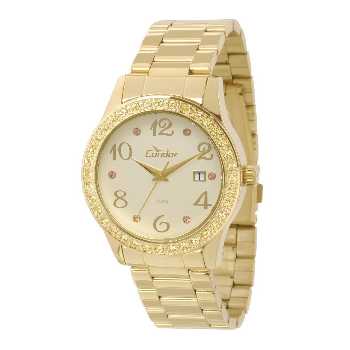 Relógio Feminino Condor Co2115tu 4x Pulseira Aço Dourada - R  91,95 ... 98ce62df12