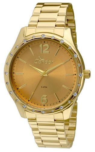 relógio feminino condor aço original co2035kmi/k4x dourado