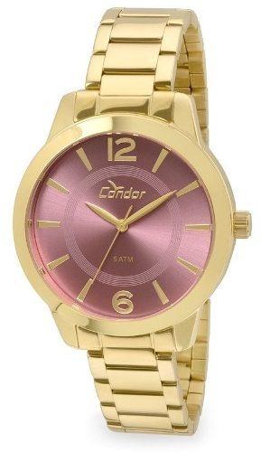 relógio feminino condor co2035kqe/k4t dourado c/ garantia