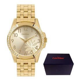 Relógio Feminino Condor Dourado A Prova D´água Original D108
