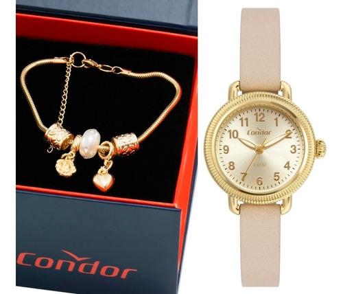 relogio feminino condor dourado pequeno + pulseira berloques