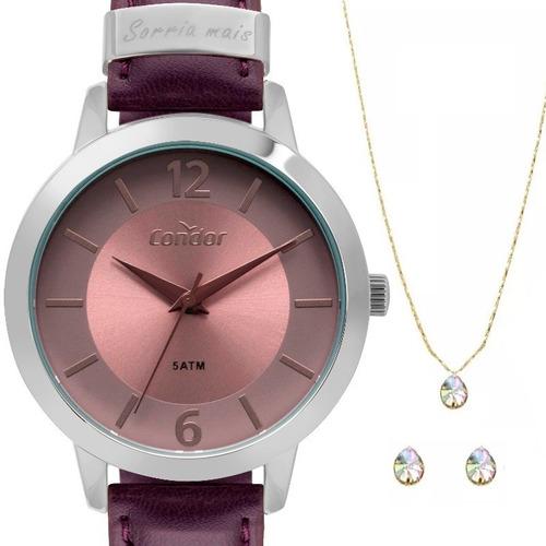 relogio feminino condor prateado pulseira em couro ajustável kit jóias colar + par de brincos caixinha para presente