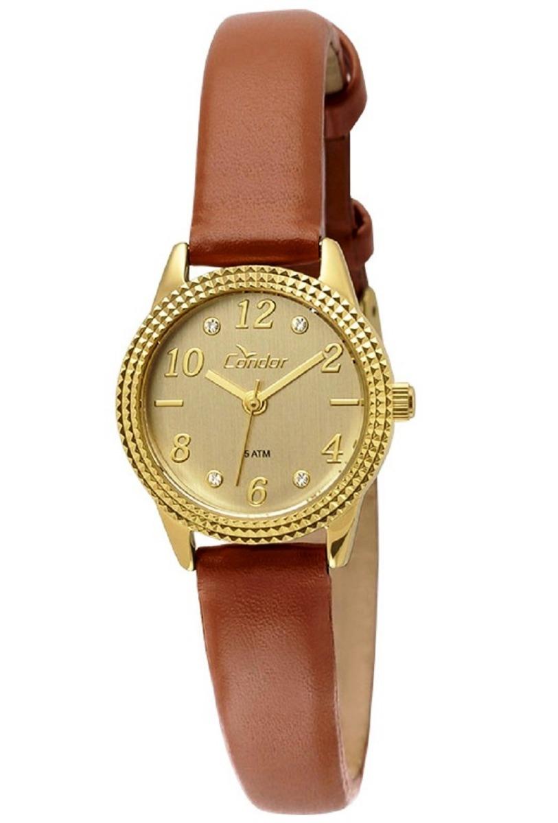3cd555e8fe1 relogio feminino condor pulseira couro marrom caixa dourado. Carregando zoom .