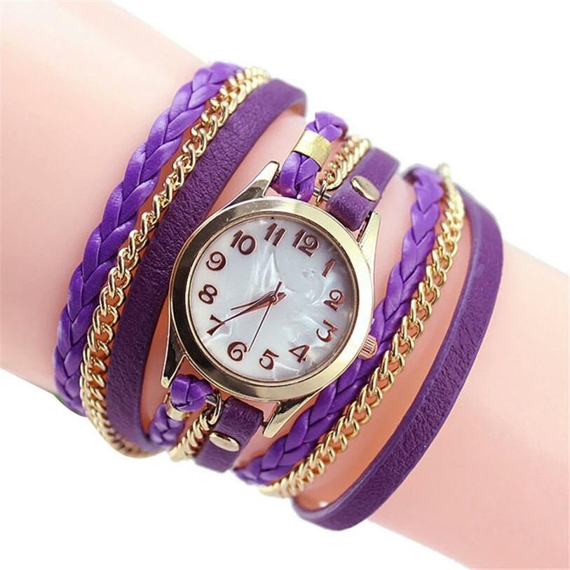 891d3ee6bd4 relogio feminino correntinha couro bracelete pulseira pulso. Carregando  zoom.