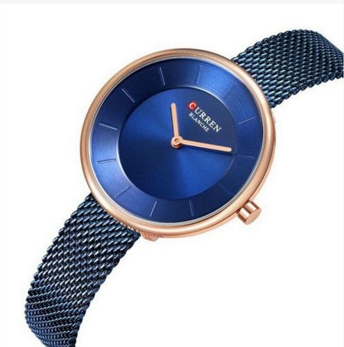 relógio feminino curren analógico c9030l cor azul