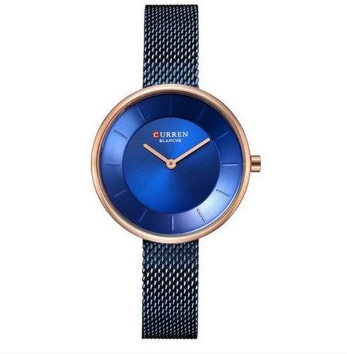 relógio feminino curren analógico c9030l cor azul liquidação