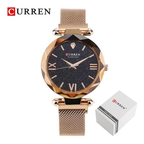 relógio feminino curren de luxo modelo 9063 quartz + estojo curren frete grátis
