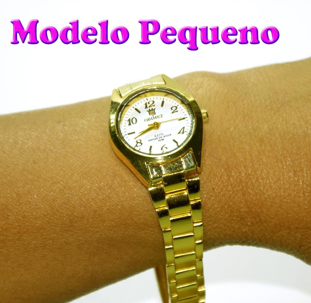 97fd2eb7069 relógio feminino d pulso dourado orinet pequeno com caixinha. Carregando  zoom.