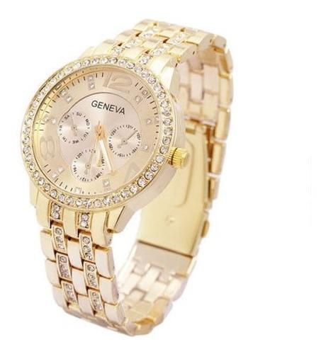 relógio feminino de pulso analógico geneva cor dourado