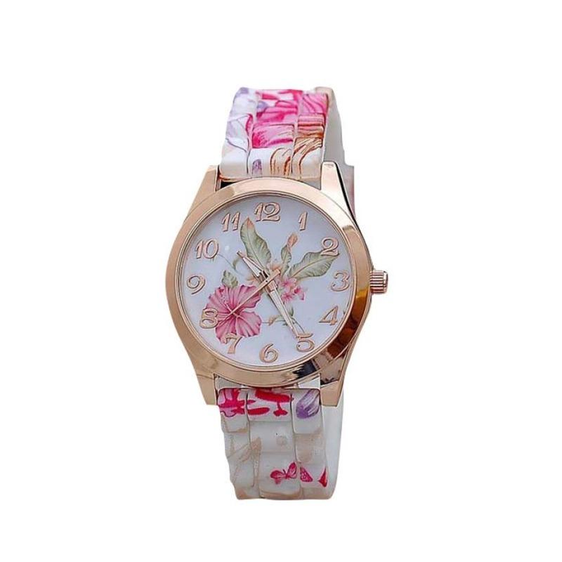 842d2be992b relógio feminino de pulso de quartzo e silicone floral. Carregando zoom.