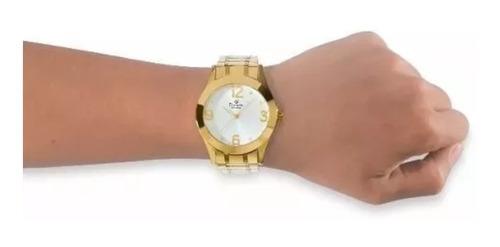 relógio feminino de pulso dourado original ch24268d
