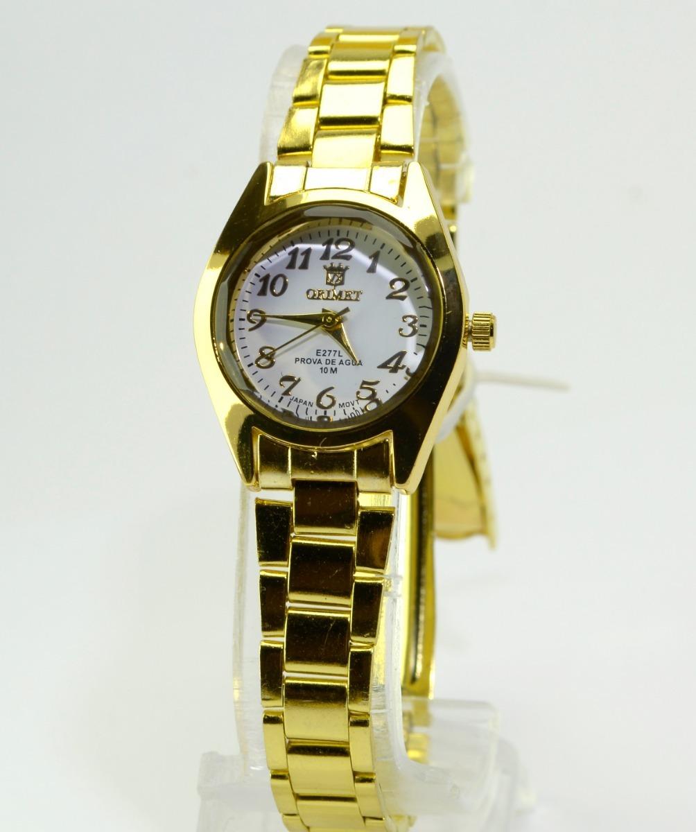 d04c7650838 relógio feminino de pulso dourado resistente orinet pequeno. Carregando zoom .