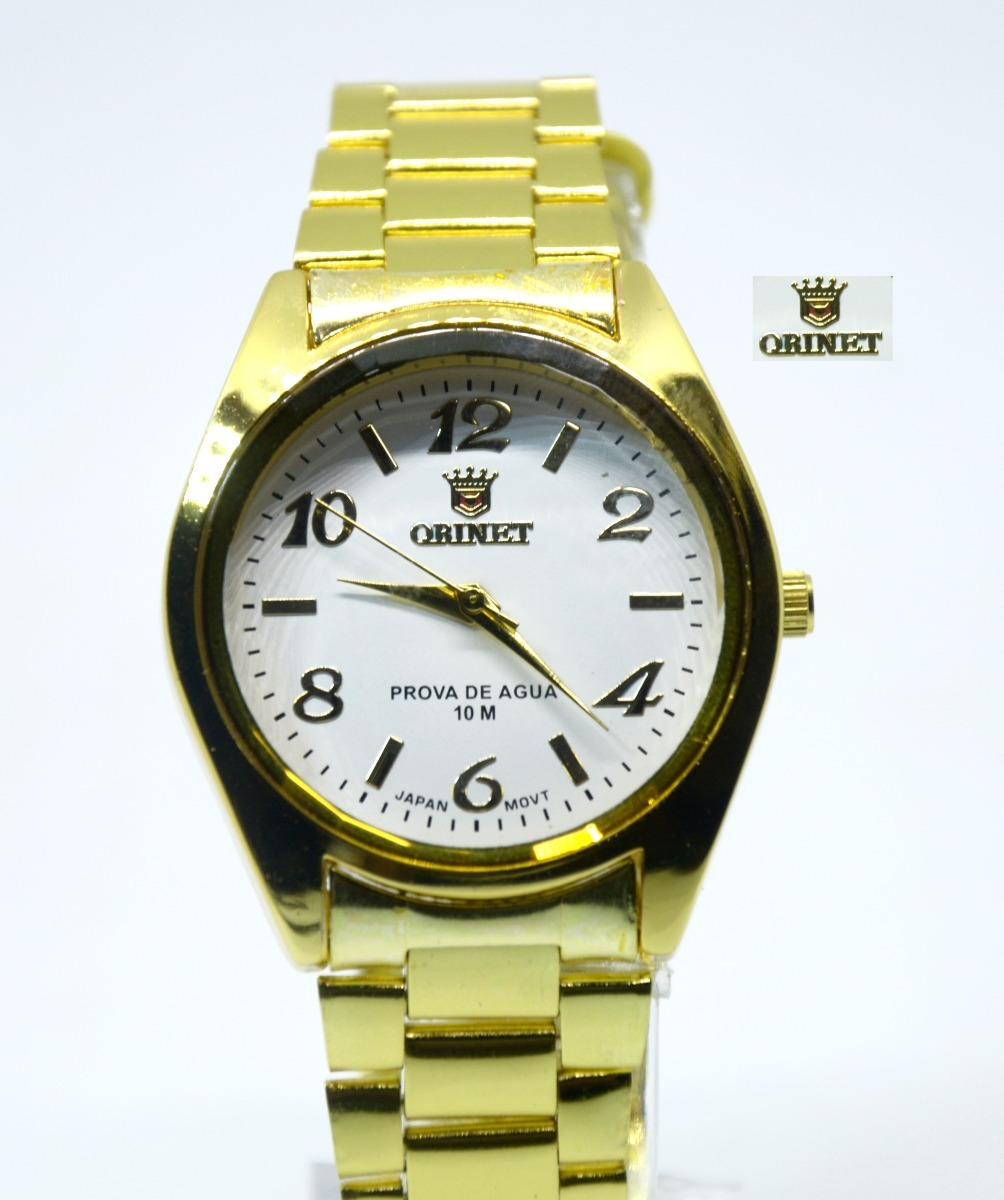 57c88595e67 relógio feminino de pulso dourado resistente orinet.barato. Carregando zoom.