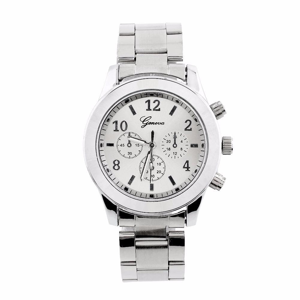 ca81a9ee0d7 relógio feminino de pulso prata redondo para mulher luxo. Carregando zoom.