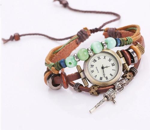relógio feminino de quartzo de couro sino pingente