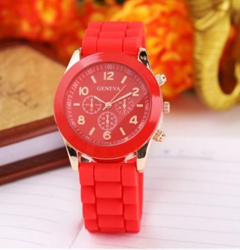 relógio feminino de silicone três cores entrega imediata