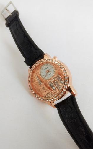 relogio feminino delicado  pulseira couro