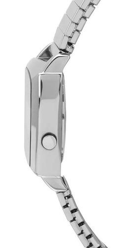 relogio feminino digital prata quadrado pequeno condor cojh5