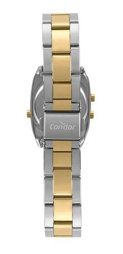relogio feminino digital quadrado prata com dourado condor