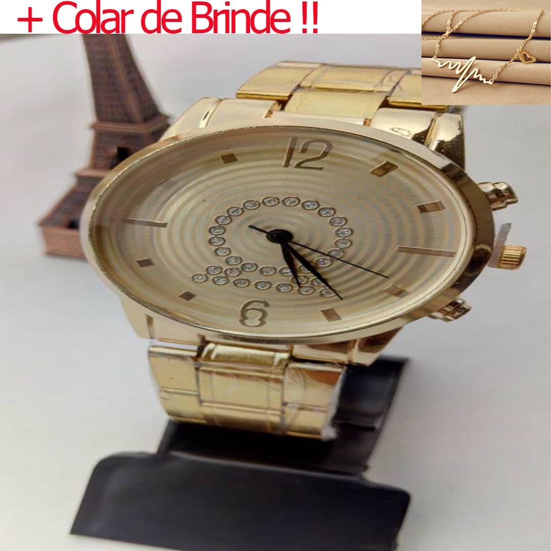 6b08af0ea61 relogio feminino dourado analogico barato novo + colar ! Carregando zoom.