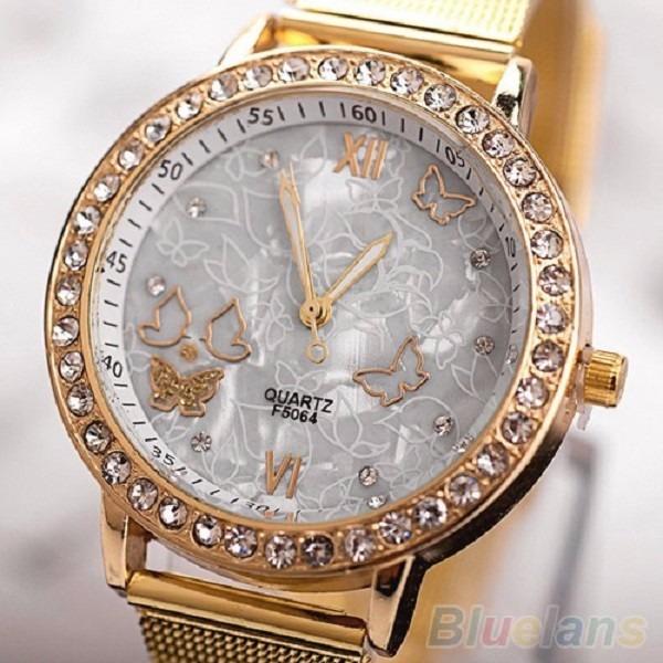 9647b5e6a89 Relógio Feminino Dourado Barato Banhado Ouro Strass Promoção - R  49 ...