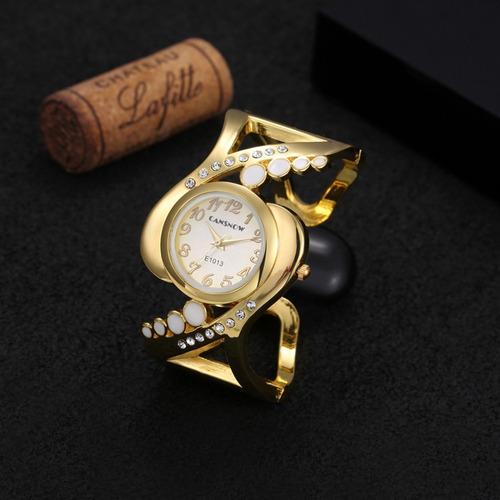 relógio feminino dourado barato bracelete promoção + brinde
