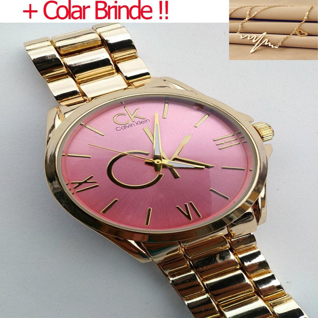 dbac9bdd526 relogio feminino dourado barato ck luxo + colar de brinde !! Carregando zoom .