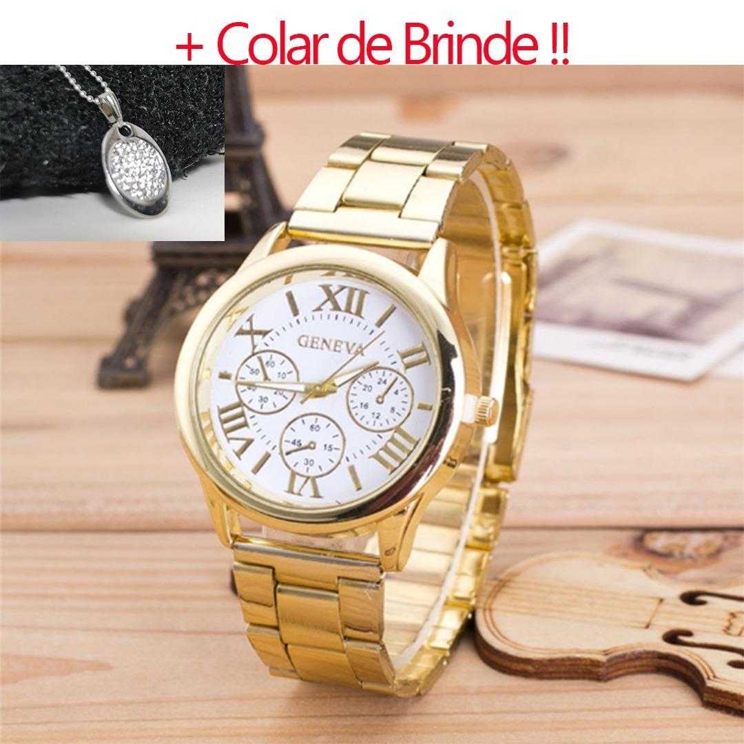 4de4cec35d0 Relogio Feminino Dourado Barato + Colar De Brinde !! - R  23