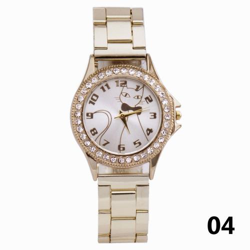 relógio feminino dourado bonito, barato, elegante #pr