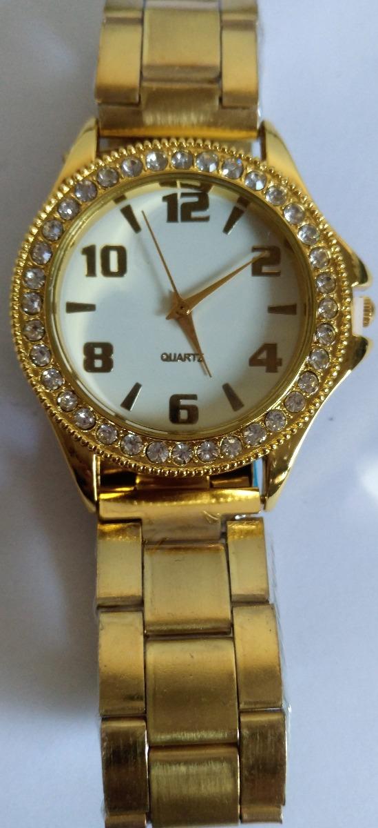 4ce28394ca relógio feminino dourado bonito barato promoção com pedra. Carregando zoom.