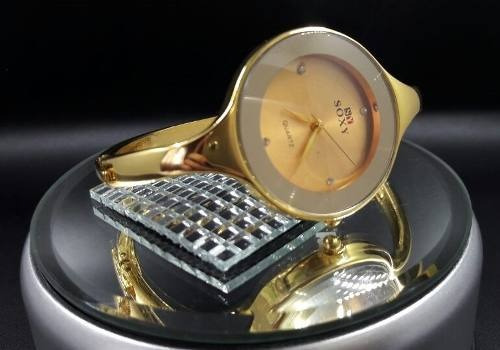 relogio feminino dourado bracelete oferta novidade bd1145