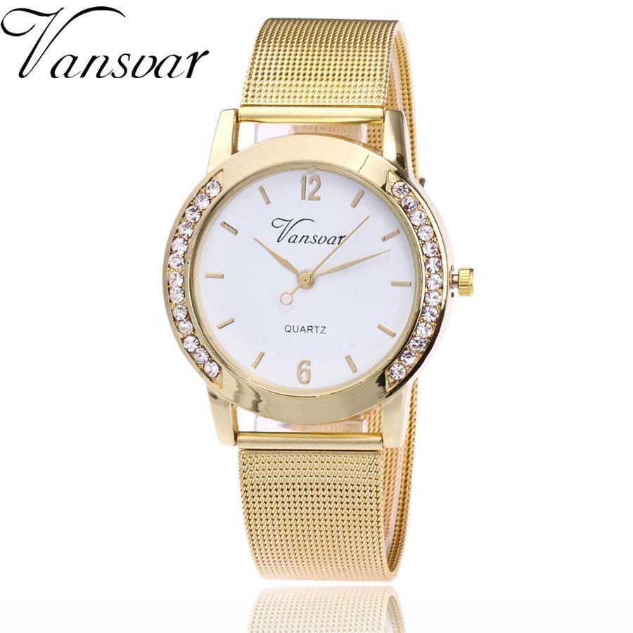 e413d8f0abf Relógio Feminino Dourado C  Pulseira De Aço Mostrador Branco - R  90 ...